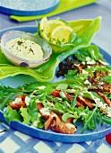 Green salad with beef carpaccio