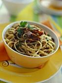 Spaghetti with tuna roe & hazelnuts (Spaghetti con bottarga)