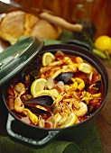 Seafood soup in pot