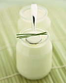 Yoghurt in jar and on spoon with chives