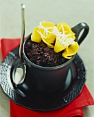 Black rice pudding with mango and coconut