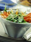 Caramelised carrots and mange touts