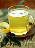 Hot pear tea with lemon peel
