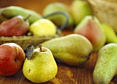 Various kinds of pears of pears on wooden background