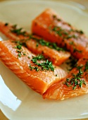 Fresh salmon fillets with chives