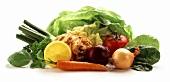 Soup vegetables, lettuce and slice of lemon