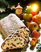Christmas stollen with marzipan fruits