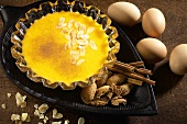 Doce de ovos (sweet egg dessert with flaked almonds, Portugal)
