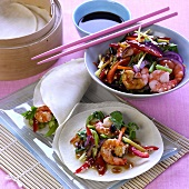 Jumbo prawns with vegetables, sesame and soy sauce