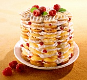 Waffle cake with raspberries and cream