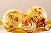 Walnut ice cream with cream and caramel sauce