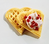 Waffle hearts with redcurrant quark