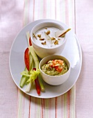Avocado dip and gorgonzola dip