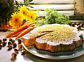 Carrot cake with chopped pistachios