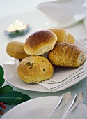 Assorted bread rolls on plate