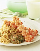 Shrimp kebabs with noodles and Asian sauce