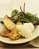 Camembert ice cream with toast and salad