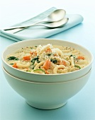 Cheese soup with macaroni and vegetables