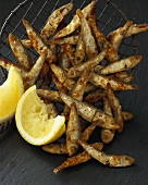 Spicy fried sprats with lemon