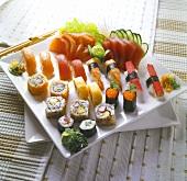 Large sushi and sashimi platter