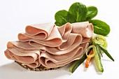 Open sandwich with Fleischwurst sausage