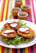 Carrot burgers with radishes