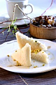 Coconut dessert with chopped pistachios
