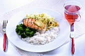 Grilled salmon cutlet with broccoli, leeks and rice