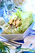 Iceberg lettuce with Camembert and pears