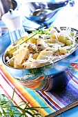 Cabbage salad with grapes and apples