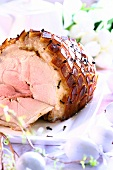 Roast Easter ham with cloves