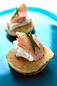 Canapés with soft cheese and trout fillet