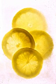 Slices of lemon in crushed ice