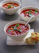 Tomato and cheese soup with herb bread