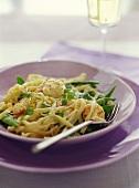 Ribbon pasta with shrimps and mangetouts