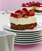 Chocolate quark cake with strawberries