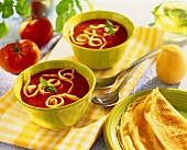Tomato soup with strips of pancake