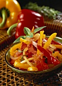 Colourful pepper salad with tomatoes