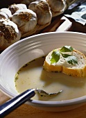 Garlic soup with white bread