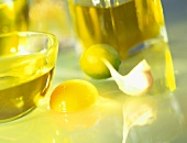 Olive oil, egg, garlic & lemon (ingredients for mayonnaise)