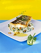 Fried zander fillet on spinach risotto with pine nuts