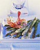 Asparagus salad with jumbo prawns