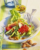 Asparagus and strawberry salad with smoked trout and almonds