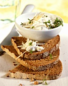Farmhouse bread with quark and cress