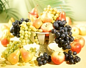 Fruit bowl with grapes, apples and pears