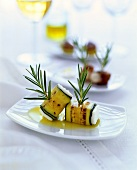 Sheep's cheese wrapped in courgette with rosemary