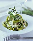 Green tagliatelle with herbs and crème fraiche