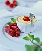 Semolina flummery with strawberry and rhubarb compote