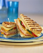Toasted club sandwich with cheese