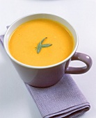 Pumpkin soup with sage leaves